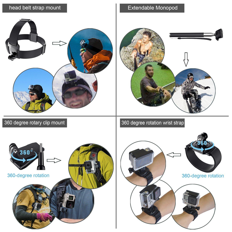 Leknes 52 en 1 Accesorios Kit para GoPro Hero 5 4 3 3 2 1 SJCAM SJ4000 SJ5000 SJ6000 Lightdow//Xiaomi Yi//WiMiUS//DBPOWER//C/ámara de acci/ón APEMAN//Action Camera Campark