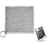 """Cast Iron Cleaner by KitchWhiz, XL 8""""x6"""" Stainless Steel Steel Chainmail Scrubber to clean Cast Iron Skillet, Cast Iron Cookware, Griddle, Wok and Dutch Oven with free cast iron cookbook (E-Book)"""