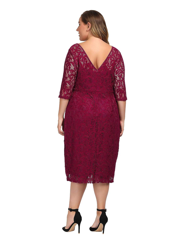 6dd7ae3a16e Chicwe Women s Plus Size Stretch Guipure Lace Dress - Party Wedding  Cocktail Dress  Amazon.com.au  Fashion
