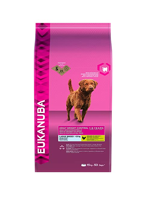 EUKANUBA Dog Dry Weight Control Adult Large Breeds Chicken Bag Comida para Perros, 15 kg
