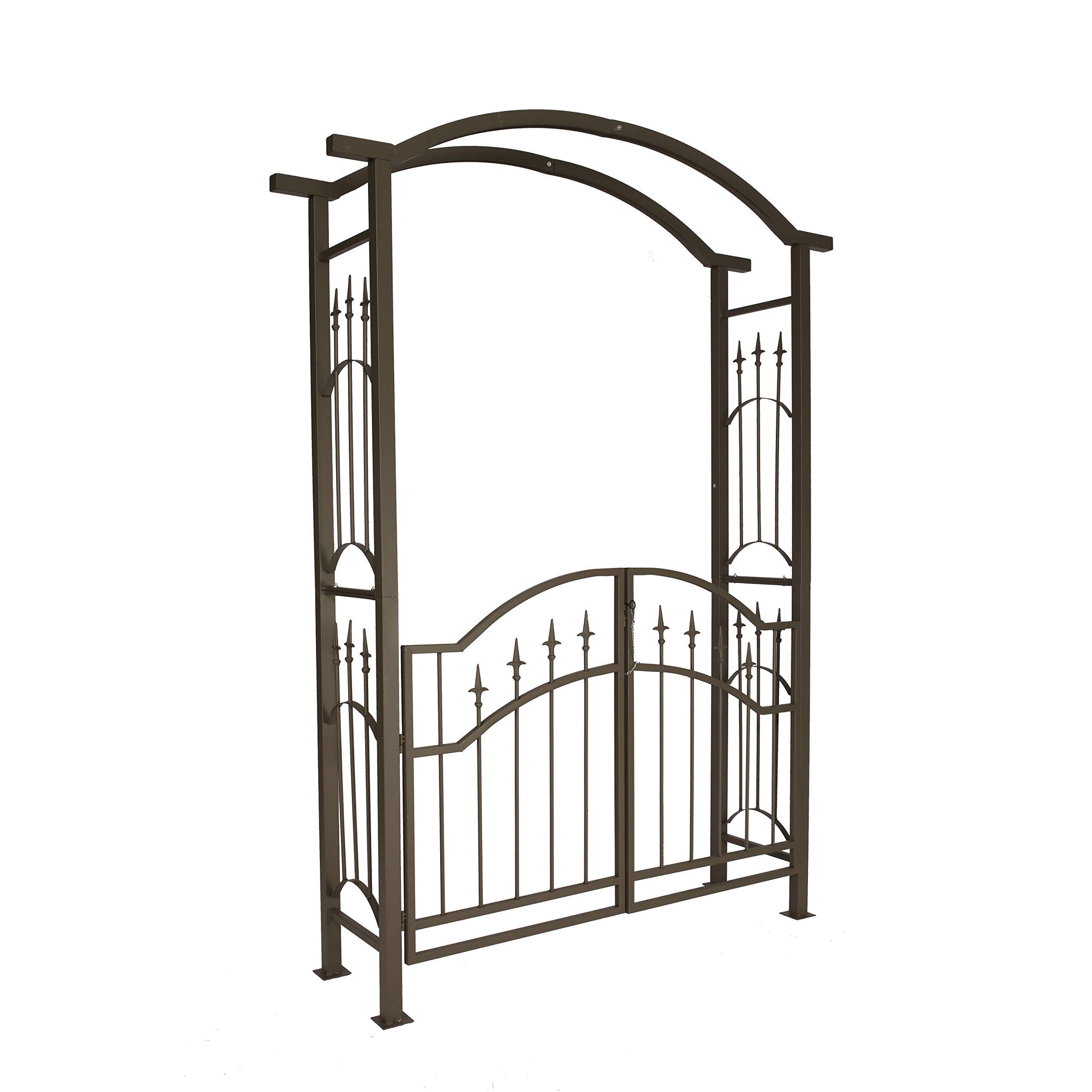 1.Go Steel Garden Arch with Gate, 7'2'' High x 5'3'' Wide, Garden Arbor for Various Climbing Plant, Outdoor Garden Lawn Backyard