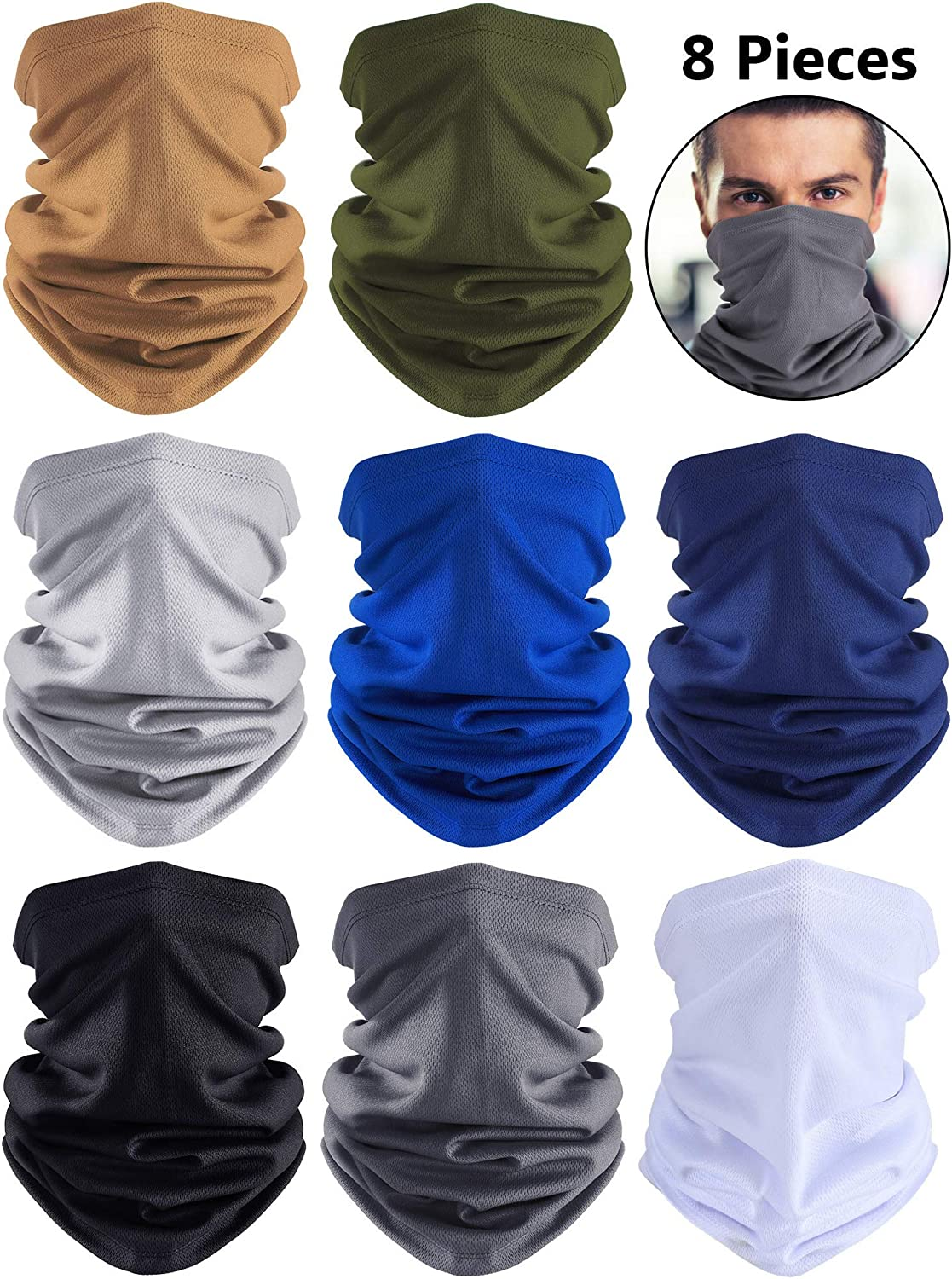 Summer UV Protection Neck Gaiter Scarf Balaclava Breathable Face Cover Scarf (Black, Grey, Blue, White, Khaki, Dark Grey, Navy Blue, Army Green, 8)
