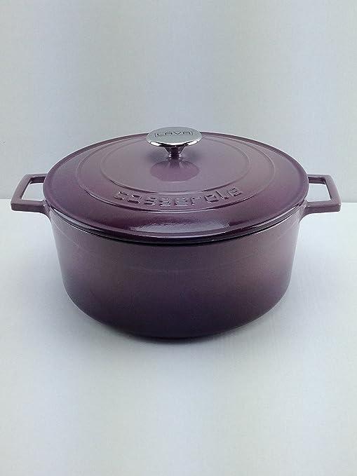 Lava Cookware Folk Hierro Fundido Esmaltada Cacerola/olla redonda, 24 cm, color morado