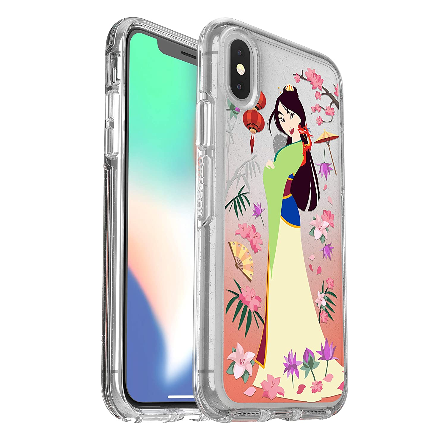 size 40 d377e bcc4c OtterBox Symmetry Series Disney Power of Princess Case for iPhone Xs &  iPhone X - Retail Packaging - Garden of Honor (Mulan) (Silver  Flake/Clear/Mulan ...