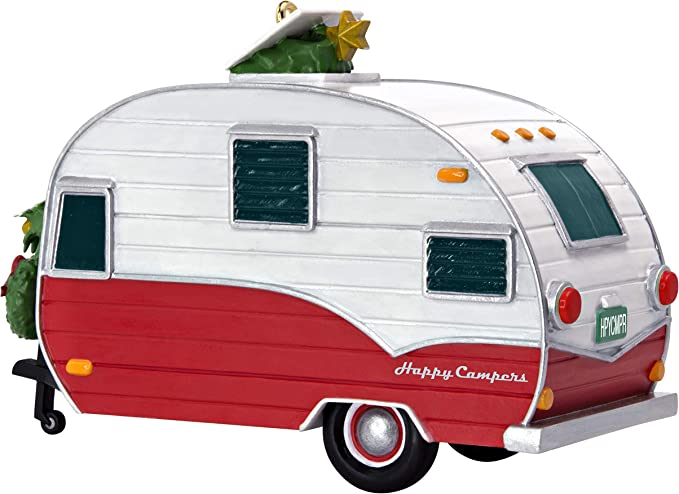 Hallmark 2014 Christmas Ornament Happy Campers Motor Home Travel Trailer Red