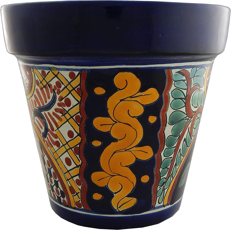 Mexican Talavera Planter Ceramic Flower Pot Folk Art Pottery Garden Handmade # 16
