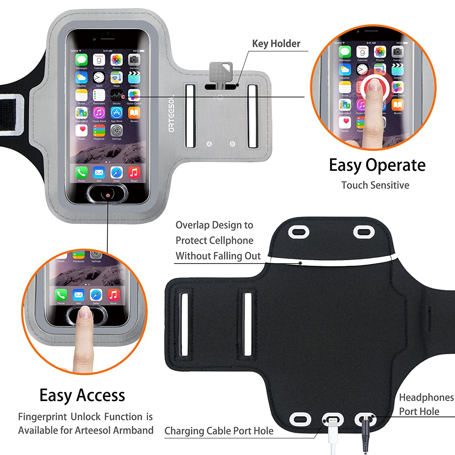 Galaxy S7//S6//S4 iPhone X Armband ARTEESOL Sweat Proof Cell Phone Holder 5.2 Inch with Fingerprint Touch for iPhone X//8//7//6//5 Black LG Moto Note 4 Phone Pouch for Running Workout