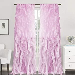 """Sweet Home Collection 2 Pack Window Treatment Sheer Cascading Panel Vertical Ruffled Curtains in Many Sizes and Colors, 108"""" x 50"""", Lavender"""