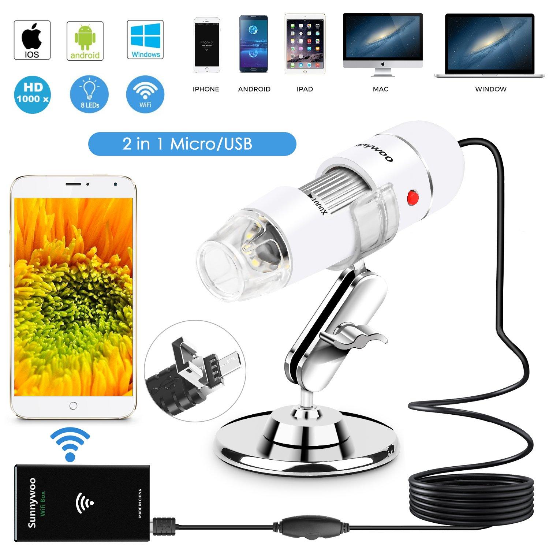 40X a 1000X Endoscopio de Aumento Digital Compatible con Mac Windows 7 8 10 Android Smartphone 8 LED con 3 en 1 USB 2.0 Mini Microscopio C/ámara Ksera Microscopio USB