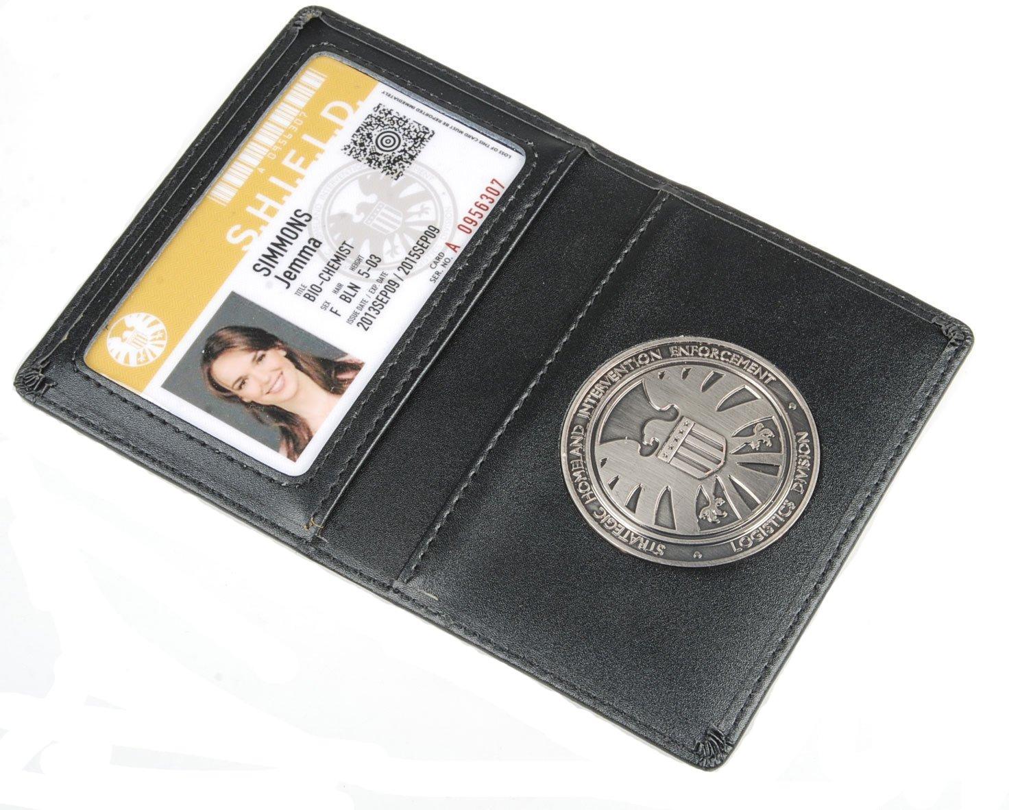 Portefeuille en Cuir ou Porte-Cartes d'identité Les Agents Avengers de S.h.l.e.l.d Bouclier avec Badge (Grant Ward)
