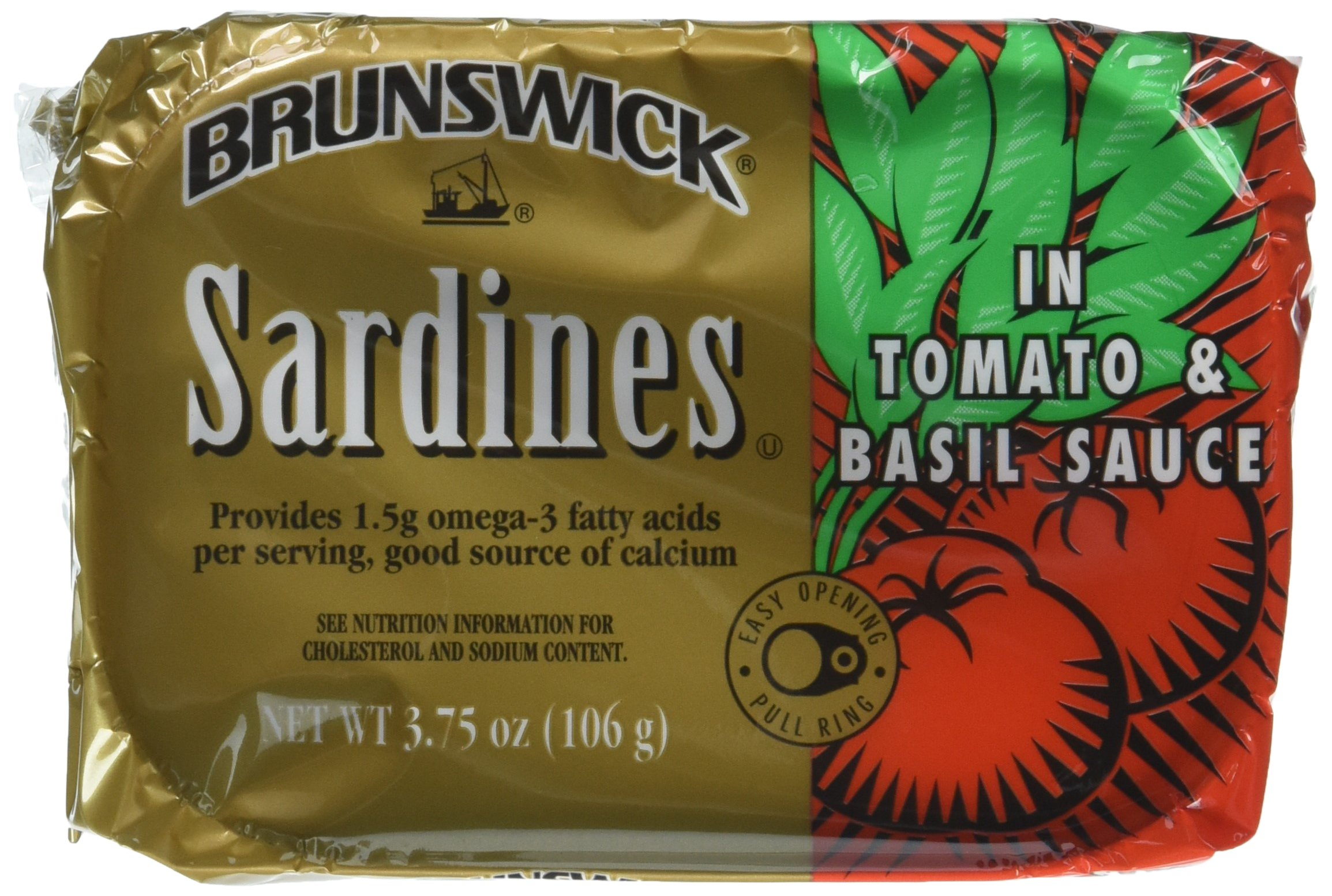 Brunswick Sardines In Tomato and Basil Sauce, 3.75 Ounce Cans, 18 Count