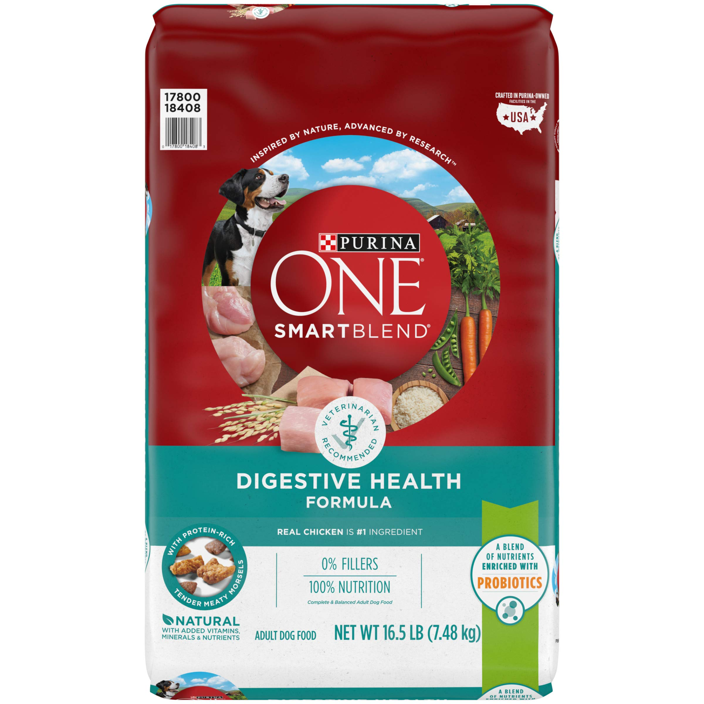 Purina ONE Natural Sensitive Stomach Dry Dog Food; SmartBlend Sensitive Systems Formula – 16.5 lb. Bag