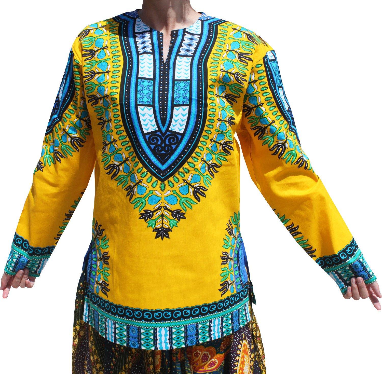 RaanPahMuang Open Collar Long Sleeve African Dashiki Print Dance to Afrika Shirt, X-Large, Buff Yellow