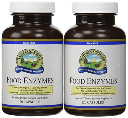 Natures Sunshine Food Enzymes Supports Digestive System 120 Capsules (Pack of 2)
