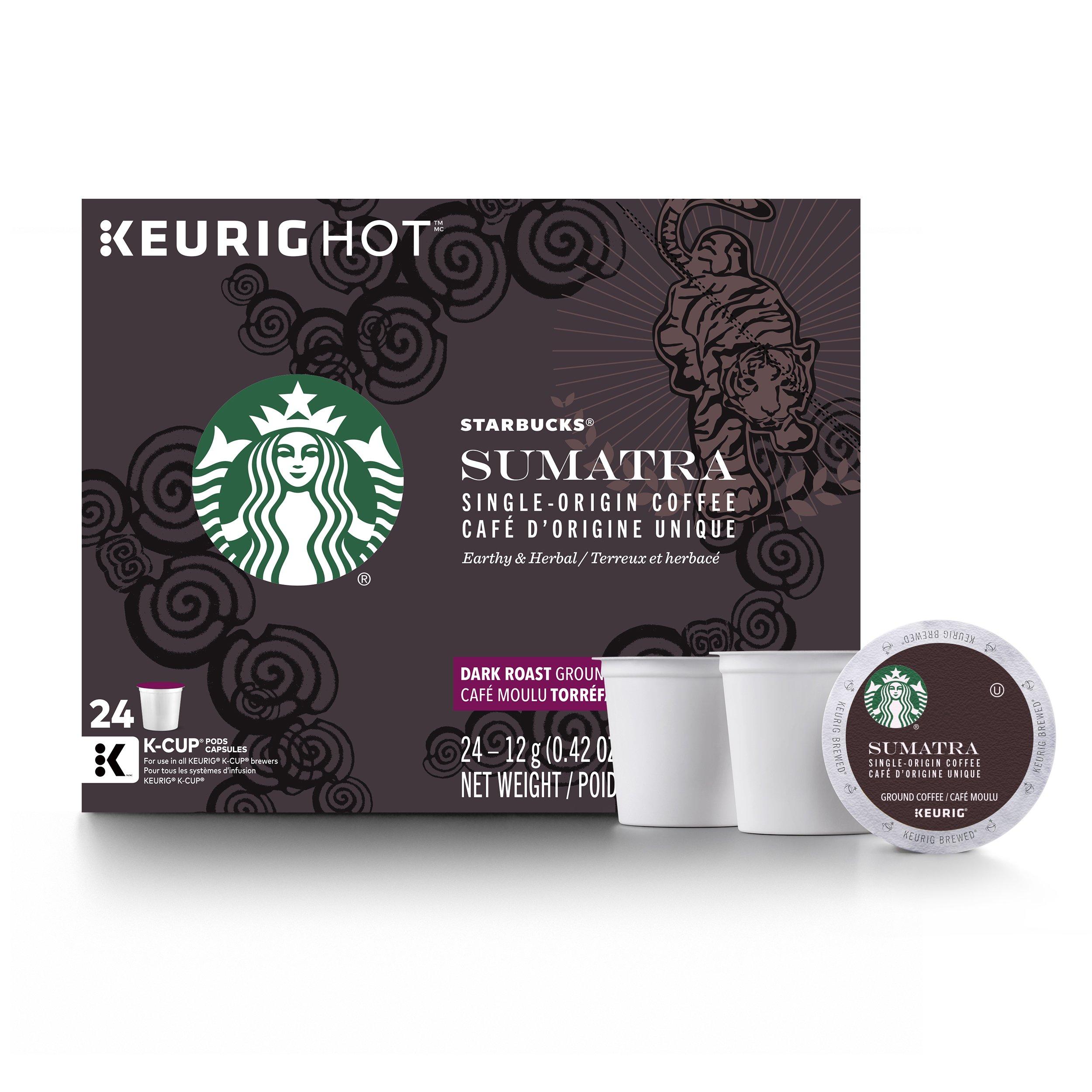 Starbucks Sumatra Dark Roast Single Cup Coffee for Keurig Brewers, 4 Boxes of 24 (96 Total K-Cup Pods)