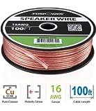 FosPower 16AWG 純銅 高純度OFC スピーカーケーブル / スピーカーワイヤー【16ゲージ   30メートル】アンプやA / Vレシーバにオーディオスピーカーを接続