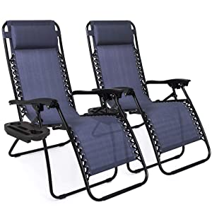 Best Choice Products Set of 2 Adjustable Zero Gravity Lounge Chair Recliners for Patio, Pool w/Cup Holder Trays, Pillows - Blue