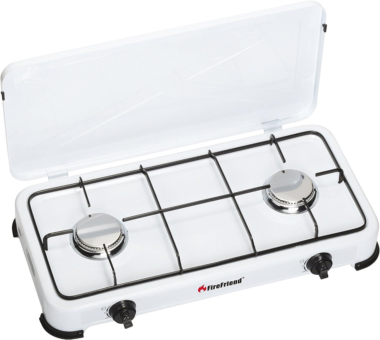 FireFriend KO-6382 Cocina de Gas, 2 quemadores, Metal, Blanco