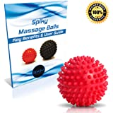 Massage Ball - Spiky Massager Roller Balls - Plantar Fasciitis, Deep Tissue Foot, Back, Shoulder, Legs, Muscle Therapy - Best Porcupine for Acupressure & Myofascial, 1 Medium Firm or 2 Pack Extra Firm
