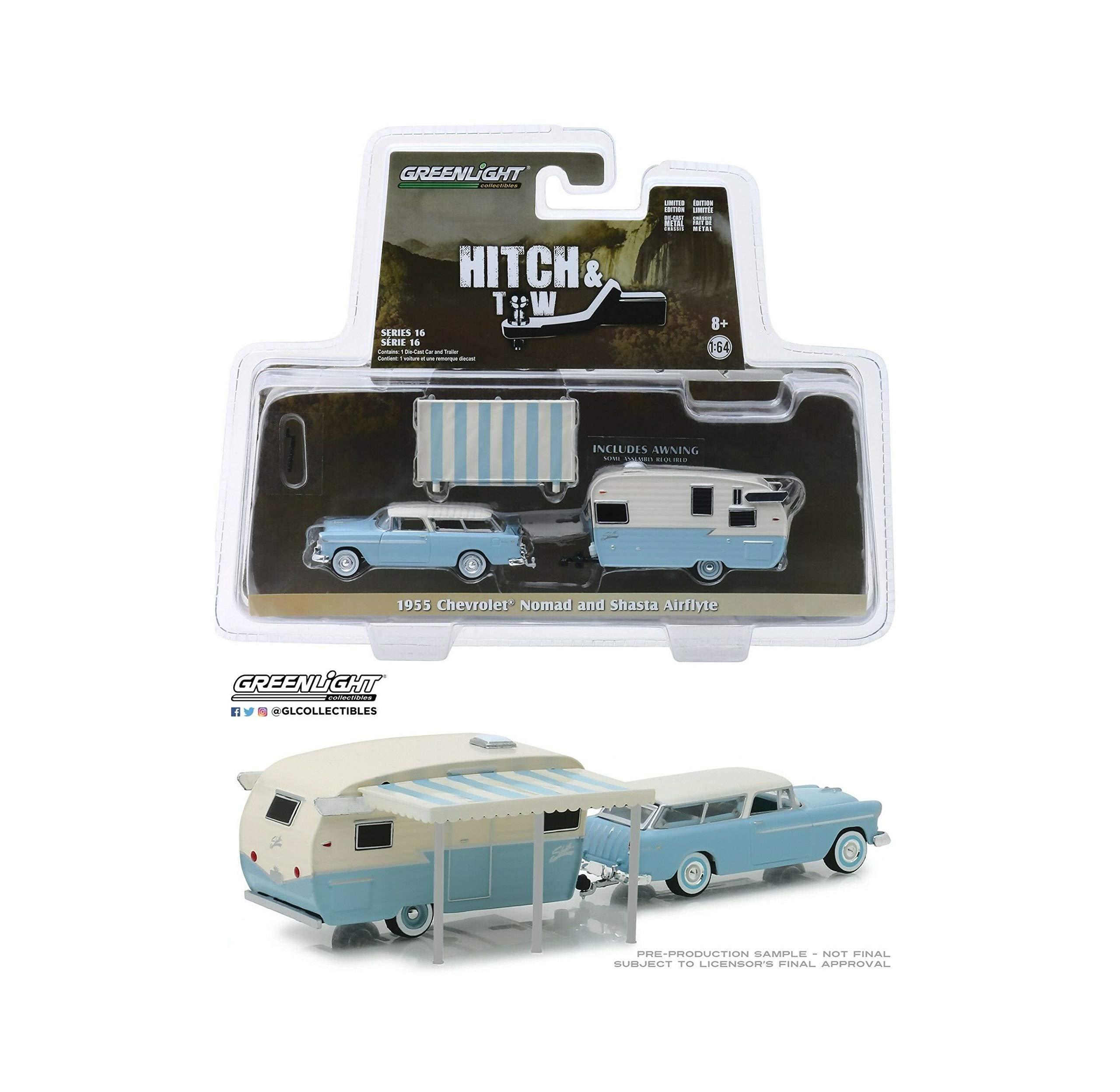 1:64 Love Gift 16 Blue 1955 Chevrolet Nomad w/Shasta Camper NIP Rare Diecast Vehicle Trailer Toy