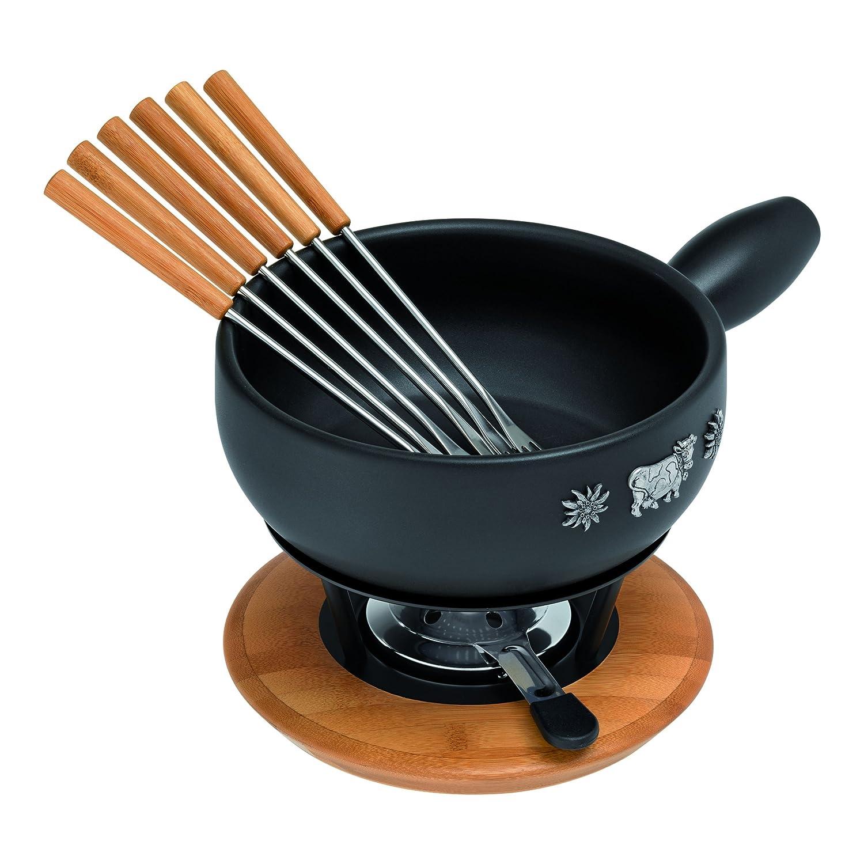 KUHN RIKON Alpina 32178 Caquelon//Cheese Fondue Set 9 Pieces Fondue Pot//Stove ...