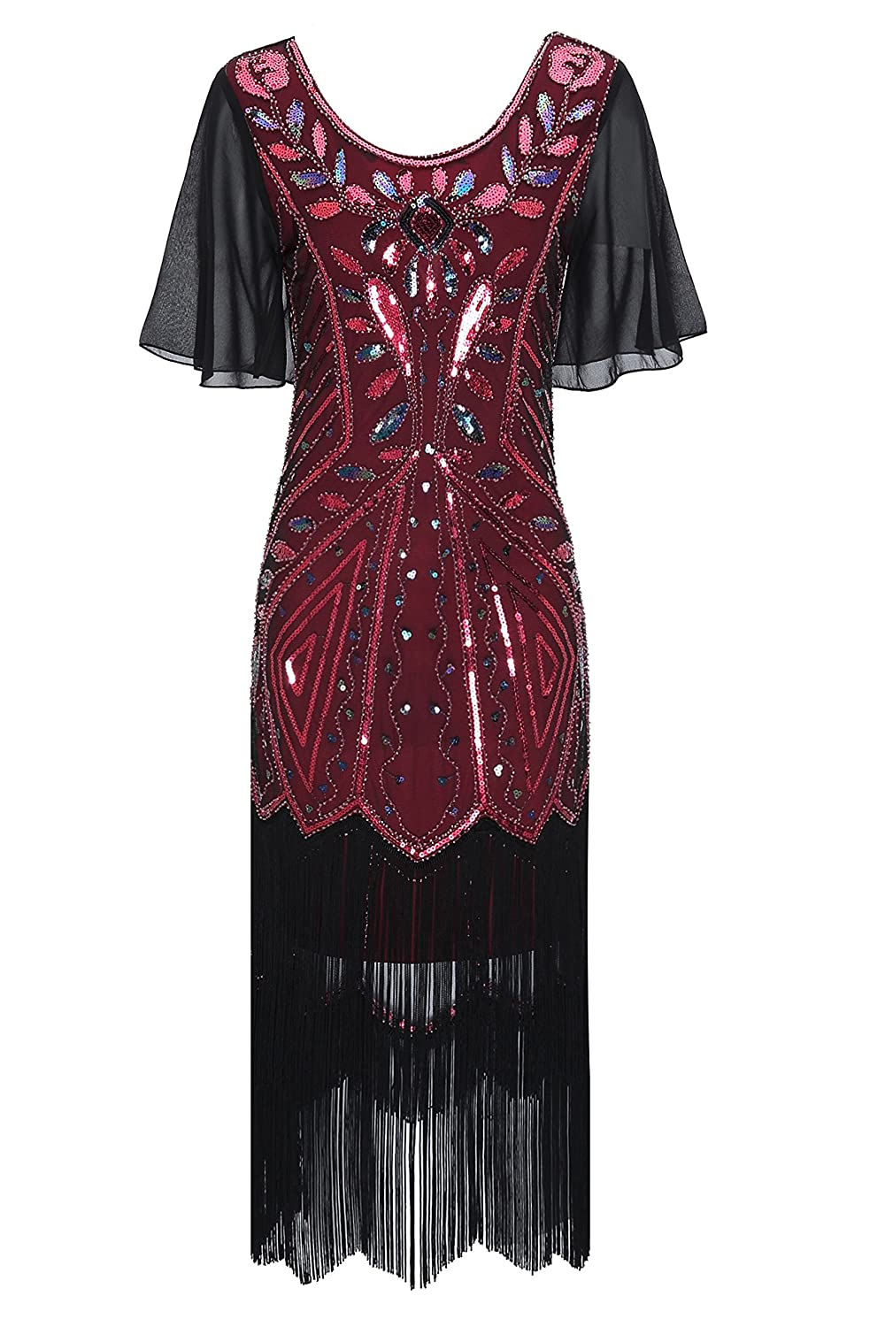 e000f585300 Metme Women s 1920s Great Gatsby Retro Style Fringed Sequin Sleeve Flapper  Cocktail Party Dress at Amazon Women s Clothing store