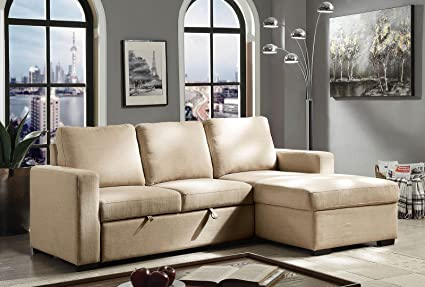 Astonishing Amazon Com Esofastore Sectional Sofa W Pull Out Sleeper Cjindustries Chair Design For Home Cjindustriesco