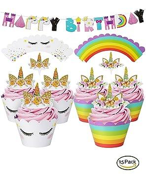 mciskin Envoltura de Cupcake Unicornio y Cuerno, Unicornio ...