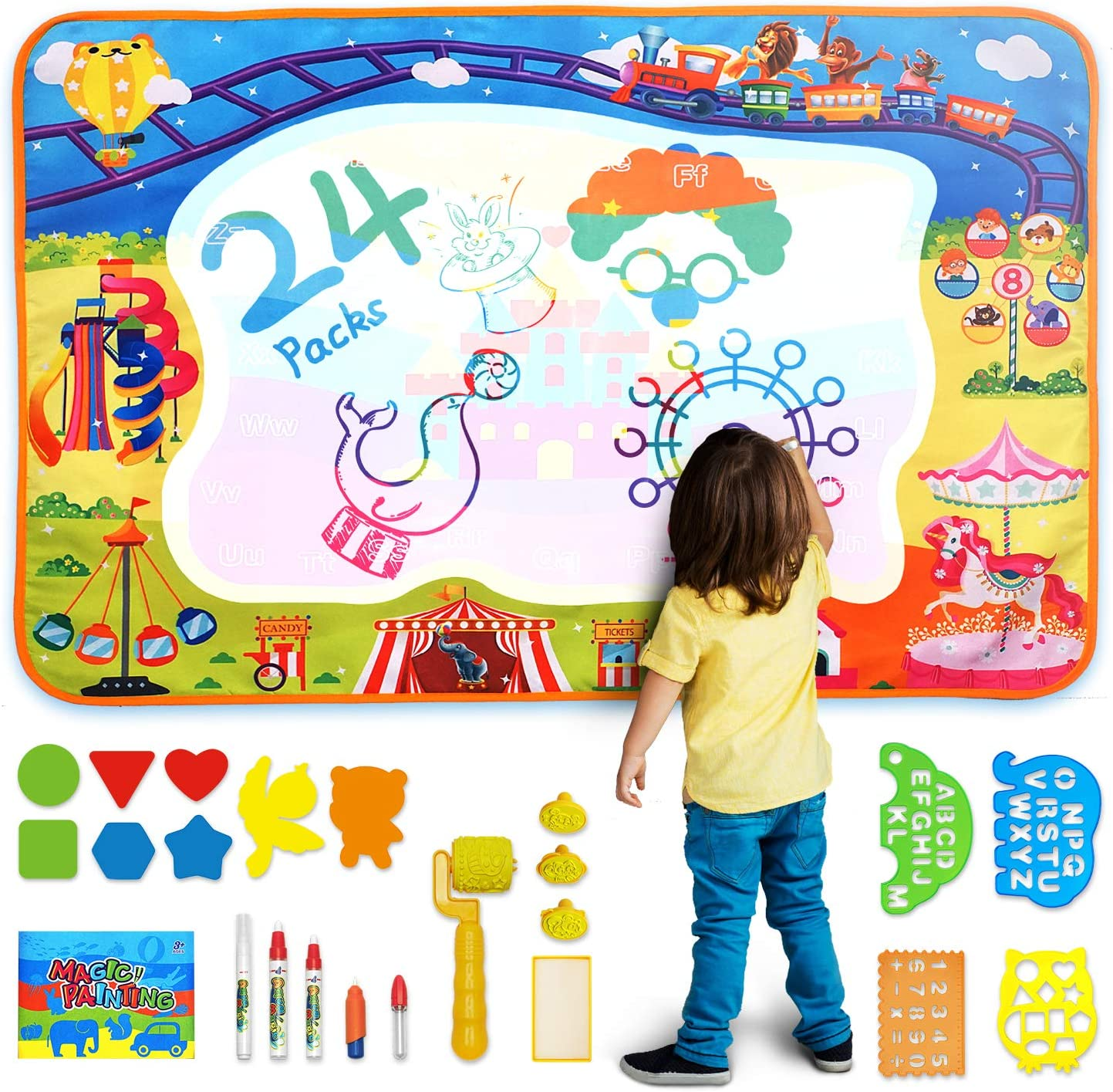 Stamps and Stencils; Toddlers Educational Toy Aqua Magic Doodle Mat Art Set with Markers Paint Pen