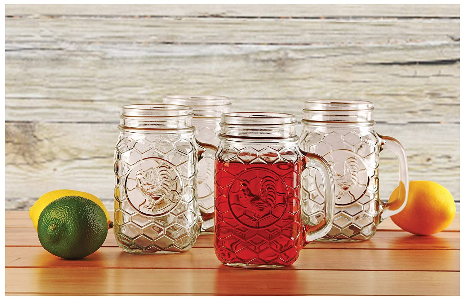 Circleware Rooster Glass Mason Jar Mugs, Set of 4, 17.5 oz, Clear 66996