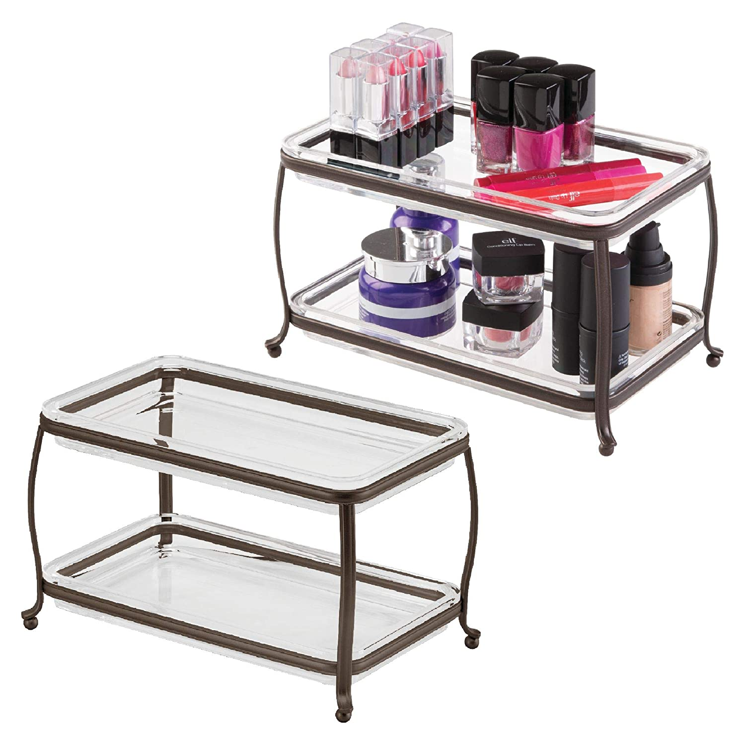 mDesign Decorative Makeup Storage Organizer Vanity Tray for Bathroom Counter Tops, 2 Levels to Hold Makeup Brushes, Eyeshadow Palettes, Lipstick, Perfume and Jewelry - Pack of 2, Bronze/Clear MetroDecor