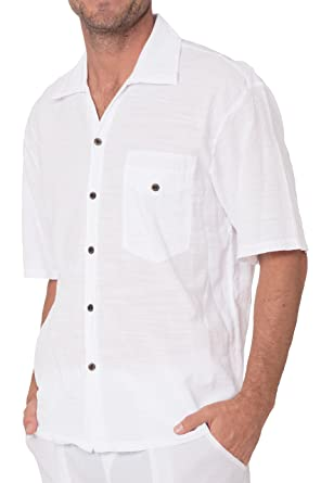 6f1af958904 INGEAR Men s White Cotton Shirt Button Down Casual Lightweight Short Sleeve  Beach at Amazon Men s Clothing store