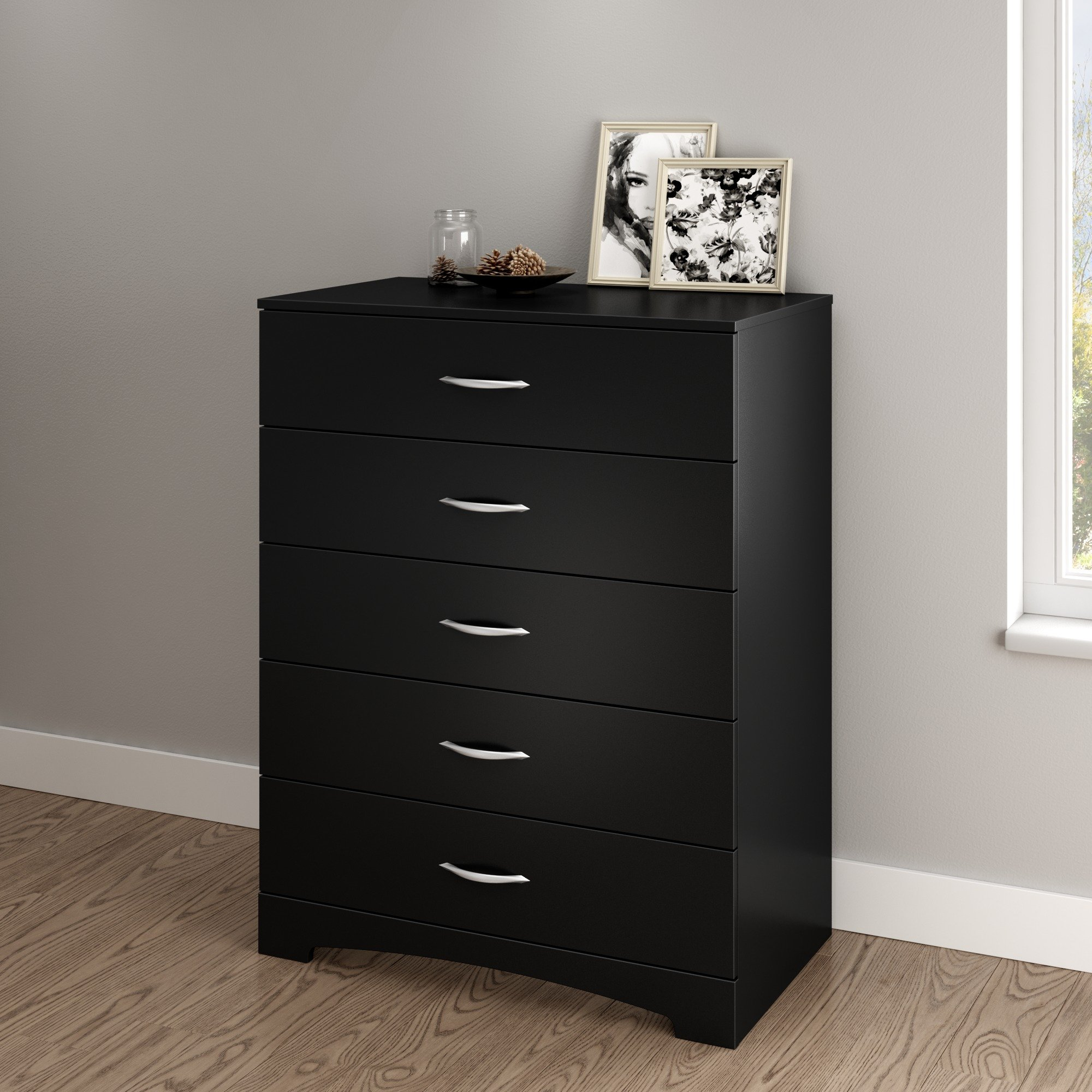 South Shore Step One 5-Drawer Chest, Pure Black