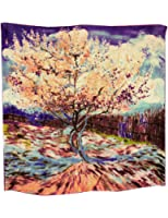 Dahlia Women's 100% Luxury Square Silk Scarf - Van Gogh's Painting Collection