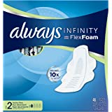 Always Infinity Size 2 Pads with Wings, Super Absorbency,  Unscented, 46 ct, Packaging May Vary
