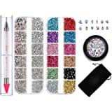 Rhinestone Jewel Pickup Tool,Flat Back Nail Rhinestones 6 Size(2-5mm) with Multi Shapes Glass AB Rhinestones for Nails Decoration Crafts Face Art Clothes Shoes Bags DIY-3800 Pcs by MGKOK
