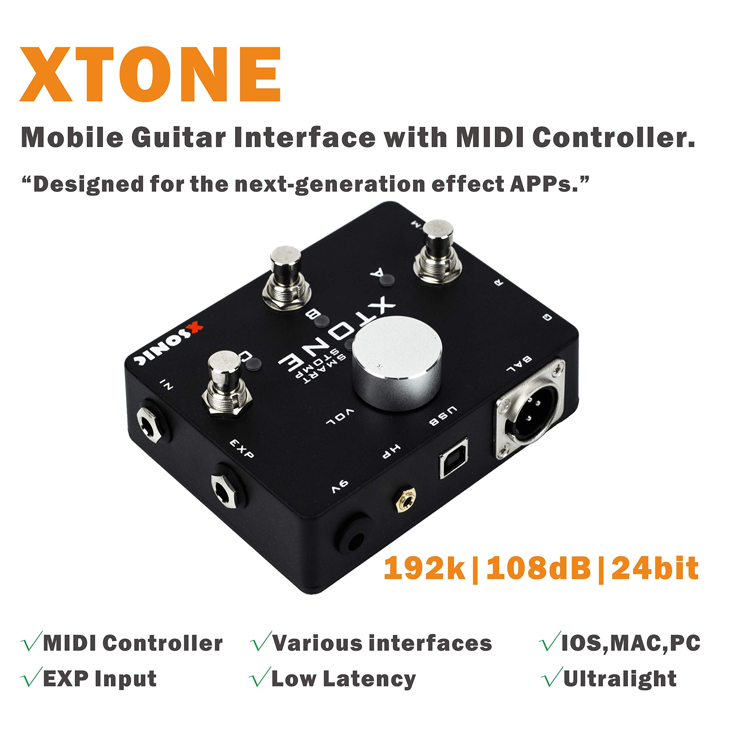 XTONE 192K Mobile Guitar Interface With MIDI Controller & Ultra Low Latency & BIAS & JamUp by XSONIC (Image #2)