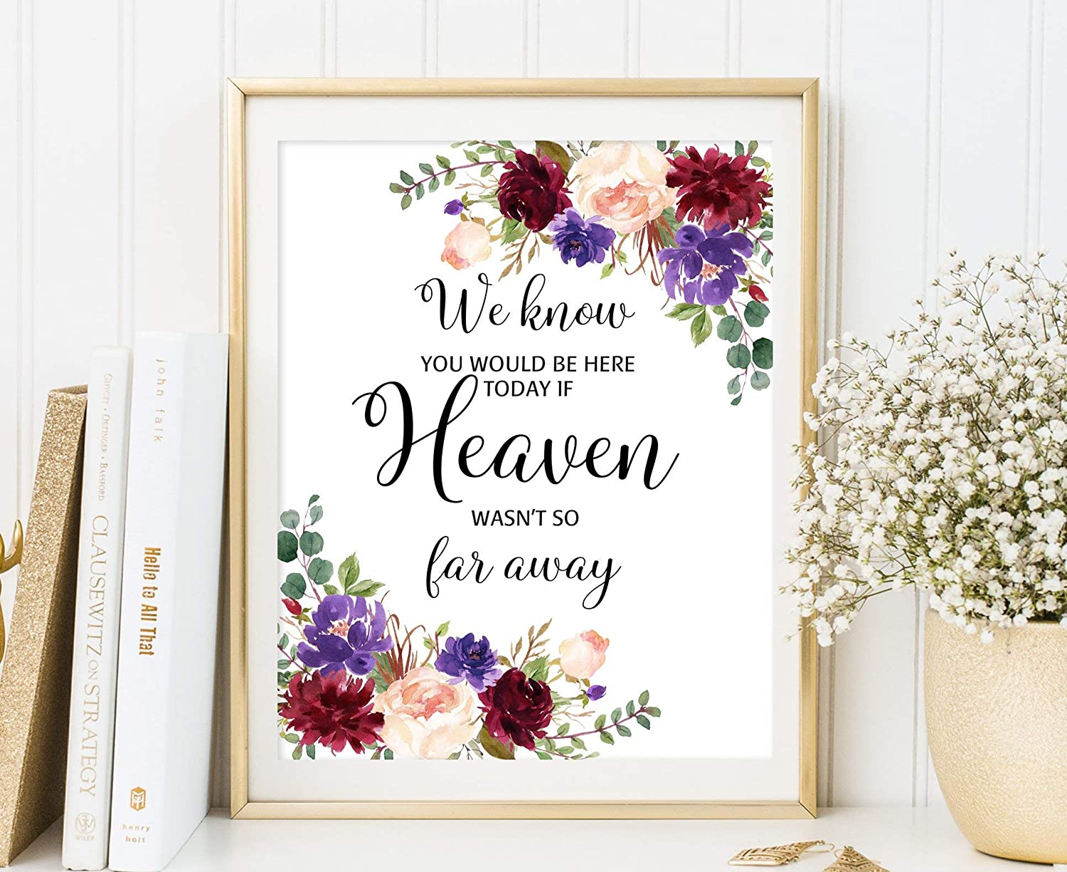 TimPrint We Know You Would Be Here Today If Heaven Wasnt So Far Away Floral Memorial Wedding Sign In Loving Memory Burgundy Blush Lilac W700 Framed print Wall Art