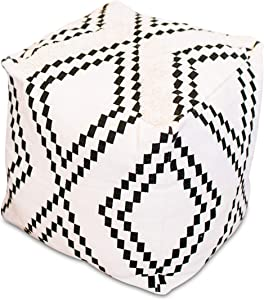 Just Like Joan Unstuffed Boho Pouf Ottoman Cover – Modern Bohemian Living Room Decor, Kids, Nursery, Dorm Room – Minimalist Storage Solution, Foot Rest – Hand-Tufted Square Neutral Removable