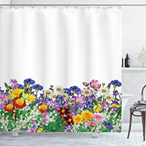 Ambesonne Flower Shower Curtain, Floral Garden with Daisies Violets and Tulips Nature Colored Theme Print, Cloth Fabric Bathroom Decor Set with Hooks, 84