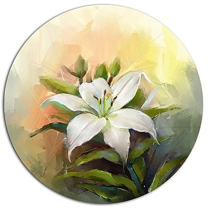 Amazon.com: Designart MT15026-C11 White Lily Flower Oil Painting ...