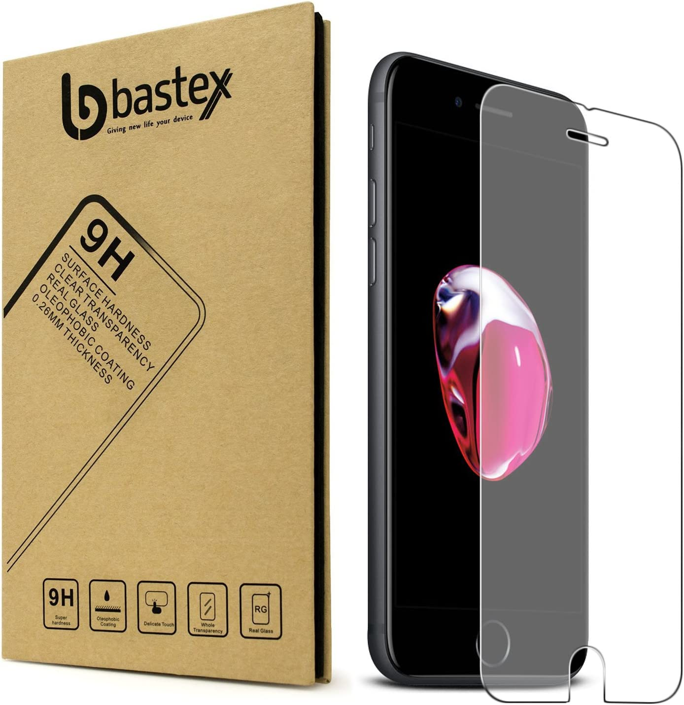 Bastex iPhone 7 [0.26mm Thickness] 9-H Premium Tempered Glass Screen Protector/Ultra High Definition Invisible, Oleo phobic Coating Anti-Bubble Crystal Shield for Apple iPhone 7