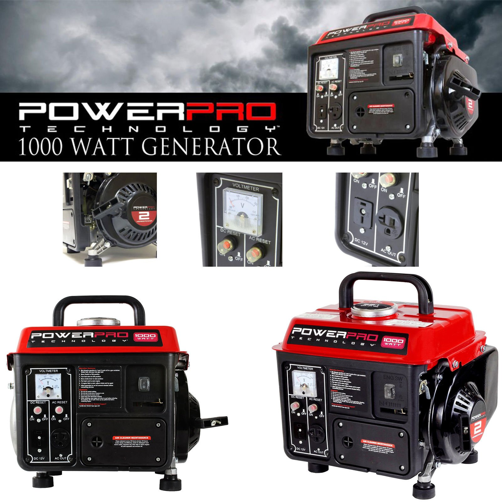 GOOD MEDIA 1000w Super Quiet Gas Powered Portable Generator Lightweight Camping RV Home NEW ✅ by GOOD MEDIA