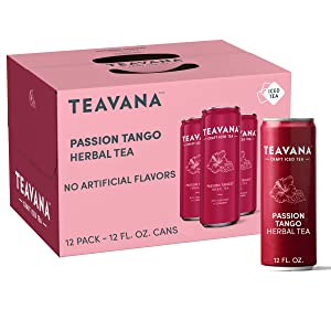 Teavana Craft Passion Tango Iced Natural Herbal Tea with Apple, Lemongrass, Cinnamon, Hibiscus Flavor 12 Fl. Oz. Cans (Pack of 12)