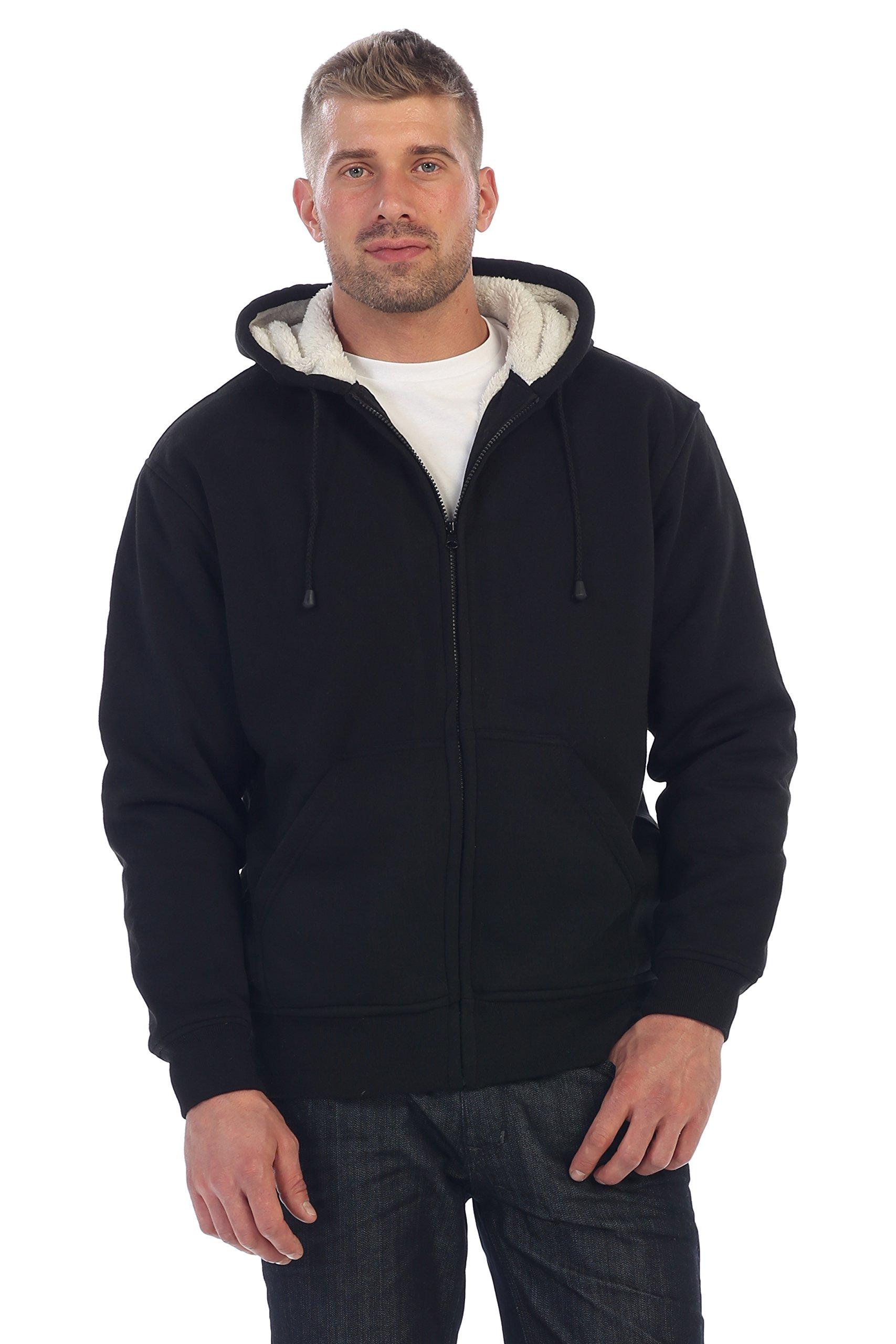 Gioberti Mens Sherpa Lined Pull Zip Fleece Hoodie Jacket, Black, X Large