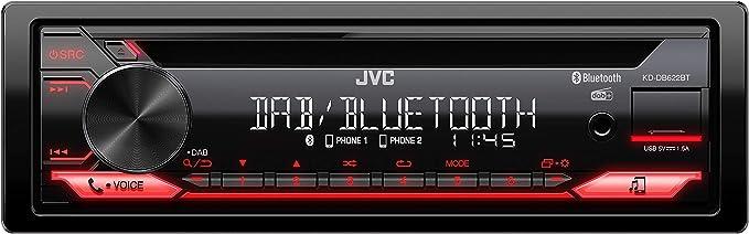 Jvc Kd Db622bt Cd Car Radio With Dab And Bluetooth Hands Free Kit Sound Processor Usb Aux In Spotify Control 4 X 50 Watt Red Button Light Dab Antenna Navigation Car Hifi