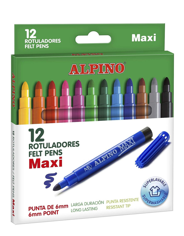 Amazon.com : ESTUCHE 12 ROTULADORES ALPINO MAXI PUNTA GRUESA ...