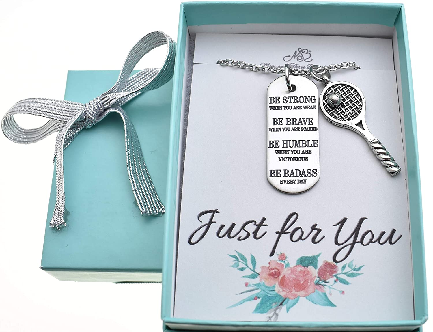 Tennis jewelry Tennis necklace Tennis Necklace in antique silver pewter on an 18 stainless steel chain with inspirational word tag Tennis Charm Tennis gifts