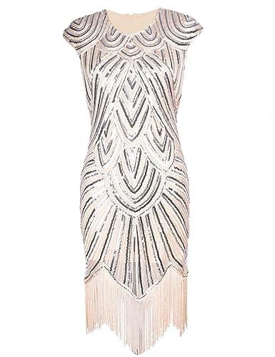 KAYAMIYA Women's 1920S Sequined Beaded Embellished Cap Sleeve Flapper Evening Dress