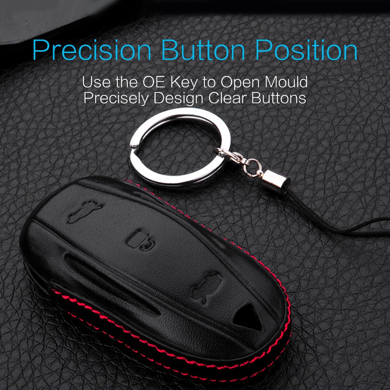 MECHCOS Compatible with fit for Tesla Model S Key Fob Sleeve Perfect Snug Fit Leather Car Key Case Remote Key Fob Pocket Bag Bonus Rubber Silicone Tesla Model S Key Case and Zinc Alloy Key Ring